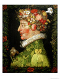 Spring, from a Series Depicting the Four Seasons, 1573 Giclée-tryk af Giuseppe Arcimboldo