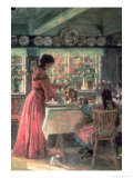 The Coffee is Poured - the Artist's Wife with Their 2 Daughters Giclée-tryk af Laurits Regner Tuxen