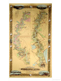 Map Depicting Plantations on the Mississippi River from Natchez to New Orleans, 1858 Giclee-trykk