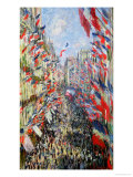The Rue Montorgueil, Paris, Celebration of June 30, 1878 Gicléetryck av Claude Monet