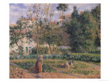 Vegetable Garden at the Hermitage, Pontoise, 1879 Reproduction procédé giclée par Camille Pissarro