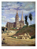 Chartres Cathedral, 1830 Giclee Print by Jean-Baptiste-Camille Corot