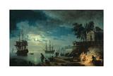 Night: a Port in the Moonlight, 1748 Giclée-Druck von Claude Joseph Vernet