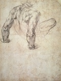 W.63R Study of a Male Nude, Leaning Back on His Hands Giclée-tryk af Michelangelo Buonarroti,