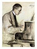 Portrait of Sergei Vasilievich Rachmaninov at the Piano, 1916 Giclee Print by Leonid Osipovic Pasternak