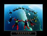 Trabajo en equipo: paracaidistas en caída libre II, en inglés Pósters