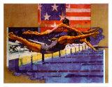 Olympische Schwimmer Poster von Michael Dudash