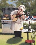 Barbecue Chef, Banjo Prints by T. C. Chiu