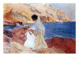 Clotilde and Elena on the Rocks, Javea Giclee Print by Joaquín Sorolla y Bastida