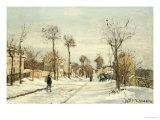 Snowy Road, Louveciennes Reproduction procédé giclée par Camille Pissarro