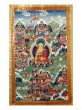 A Tibetan Thang.ka, Buddha Shakyamuni Surrounded by Many Scenes from His Previous Lives, 18th C Giclee Print