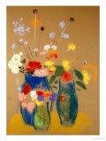 Three Vases of Flowers Giclee-trykk av Odilon Redon