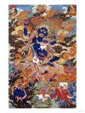 A Tibetan Thang.ka Depicting Bse'i.Khrab.Can on His Horse, circa 1900 Giclée-tryk