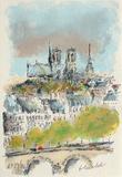 Paris, Panorama Sur Notre Dame Collectable Print by Urbain Huchet