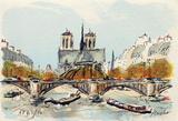 Paris, L'Abside de Notre Dame Collectable Print by Urbain Huchet