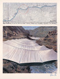 Arkansas River from Above - Signed Samletrykk av  Christo