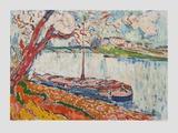 Lastschiff Auf der Seine Bei Chatou Sammlerdrucke von Maurice de Vlaminck