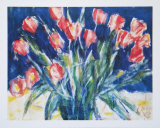Red Tulips on Blue, 1930 Posters av Christian Rohlfs