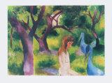 Girl with Blue Birds Samletrykk av Auguste Macke