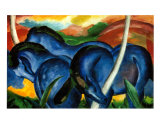 The Large Blue Horses, 1911 Art by Franz Marc