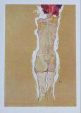 Nude Girl Standing, from the Backside, 1910 Keräilyvedos tekijänä Egon Schiele