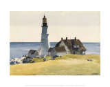Lighthouse and Buildings, Portland Head, Cape Elizabeth, Maine, c.1927 Poster van Edward Hopper