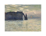 The Cliff, Etretat, Sunset, 1883 Print by Claude Monet