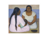 Two Women and a Child Posters by Diego Rivera