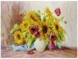 Poppies And Sunflowers Art by E. Kruger