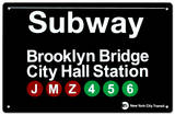 Subway Brooklyn Bridge- City Hall Station Tin Sign