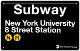 Subway New York University- 8 Street Station Tin Sign