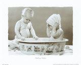 Bebés durante el baño Lámina