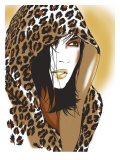 Woman with Leopard Skin Hood Affiches