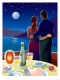 Couple at Romantic Dinner Posters