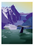 A View of an Alaskan Cruise Ship, Glaciers, and a Whale Poster