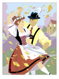 Two Young Adult Male and Female German Dancers Poster