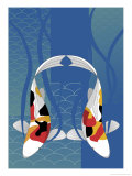 Two Koi Fish Swimming Side by Side Poster