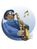 Male Saxophone Player Posters