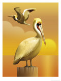 A View of Two Pelicans, One Standing on a Post and One Flying Posters