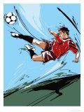 Man Kicking a Soccer Ball Kunstdrucke