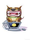 Ferocious Dog Sitting on Computer Art