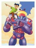 Boy on Shoulder of Robot Affiches