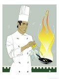Chef Squeezing Lemon into a Saute Pan Affiches