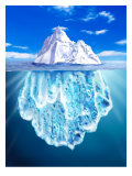 A View of an Iceberg from Above and Below Water Posters