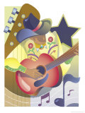An Abstract of a Male Country-Western Musician Playing an Acoustic Guitar Posters