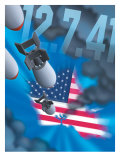 """Pearl Harbor Day, Bombs Dropping on an American Flag, """"12.7.41"""" Poster"""