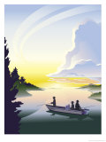 Silhouette of a Family Fishing from a Boat, Grouped Elements Affiches