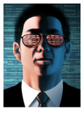 Man with Stock Market Ticker Reflected in Glasses Poster