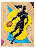Basketball Player Dribbling Ball Affiche