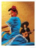 Mariachi and Flamenco Dancer Stampa